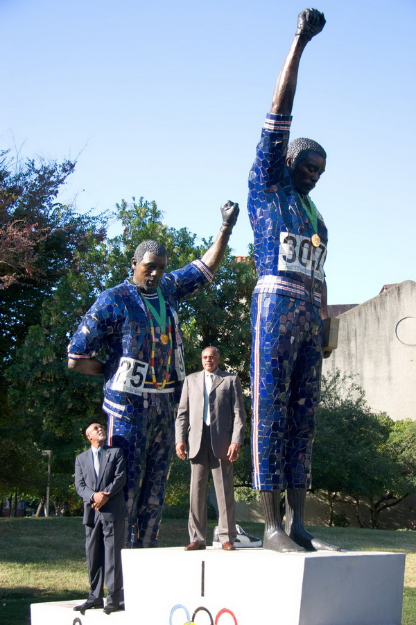 Statues of Tommie Smith and John Carlos in the scupture Garden at San Jose State University. Photo b y Robert C. Bain, Copyright 2005 San Jose State University Photographic Services. San Jose State University Photographic Services, IRC 309 One Washington Square San José, CA 95192-0026 408-924-2855